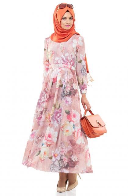 5e777eab9672c فساتين محجبات بطبعة الزهور للعيد