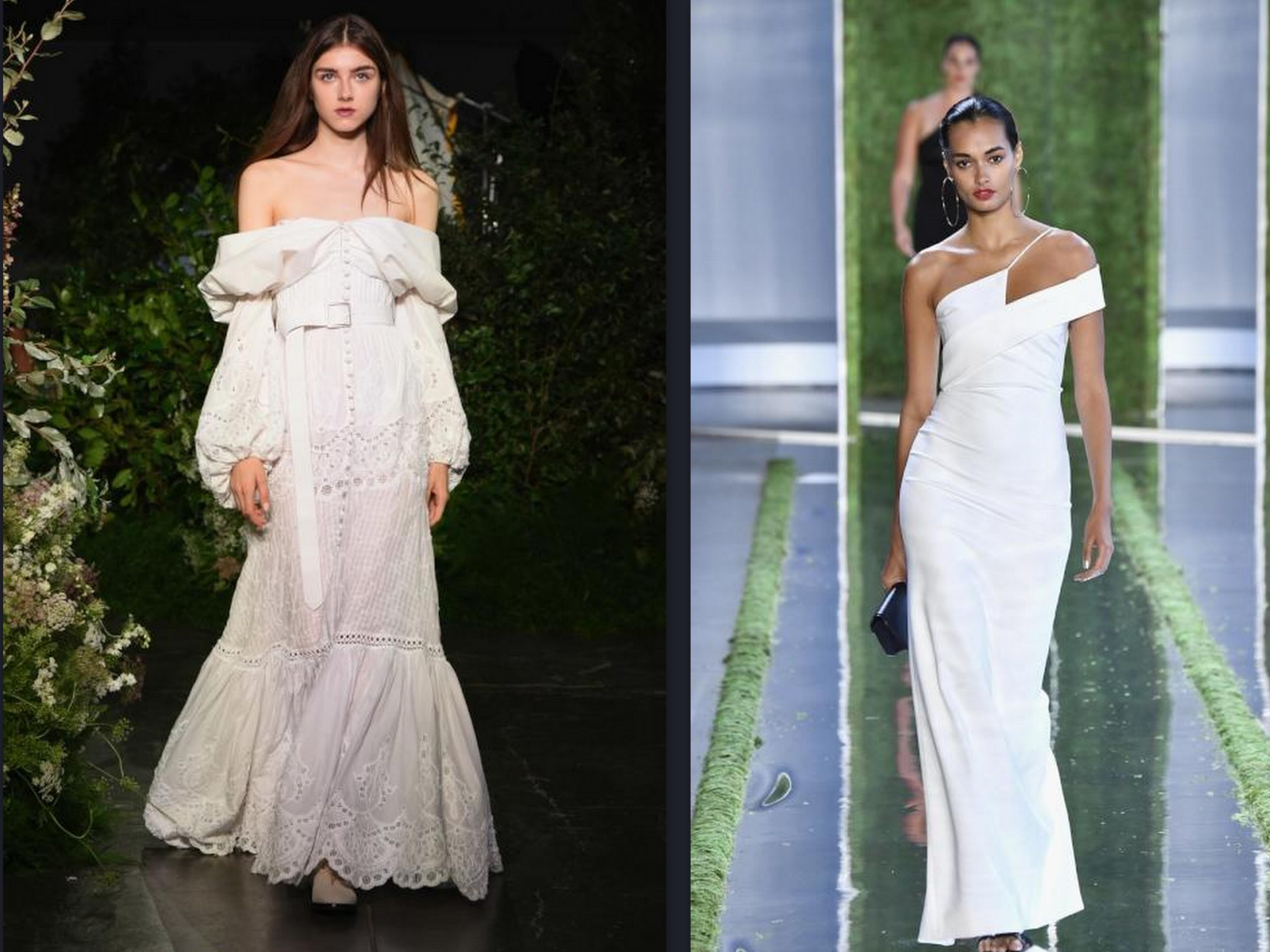 ea4a1ed96 من أسبوع الموضة بنيويورك 2019، استلهمي تصميمًا مميزًا وناعمًا لفستان زفافكِ  أو حفل كتب الكتاب؛ حيث قدّمت العديد من الماركات فساتين باللون الأبيض،  اتّسمت ...