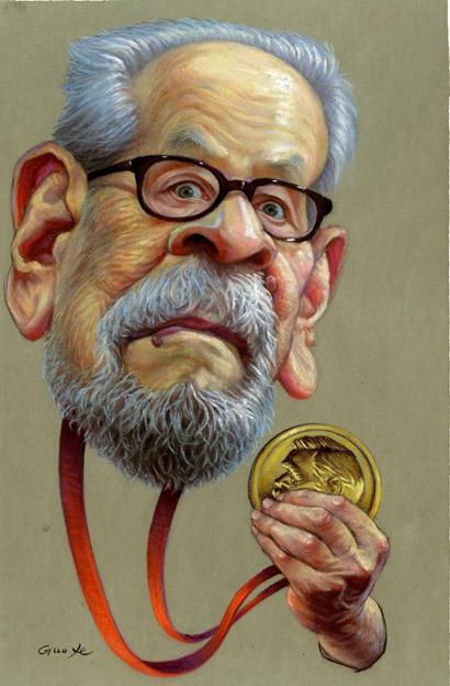 لوحات كاريكاتير للأديب نجيب محفوظ