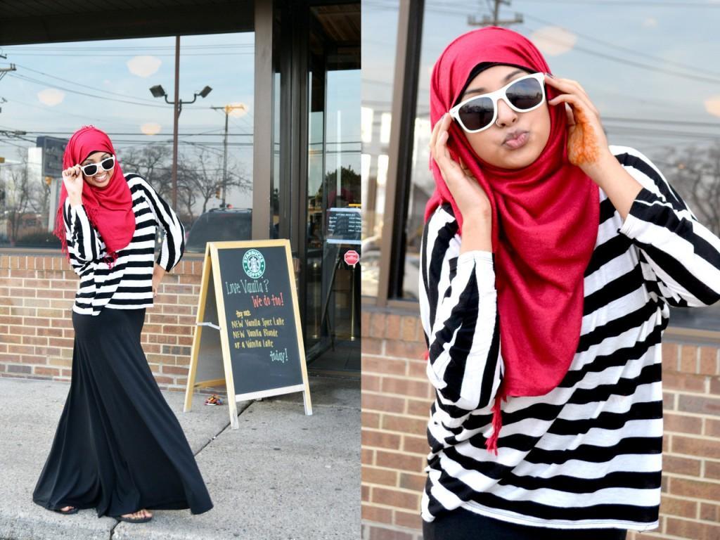 2ac3bd017b2aa للمحجبات  أيّ حجاب لإطلالة الأسود والأبيض المخطط؟