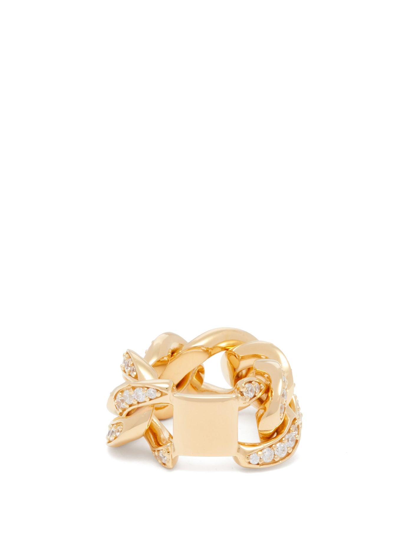 خاتم من الذهب الأصفر مرصع بأحجار الماس من Bottega Veneta
