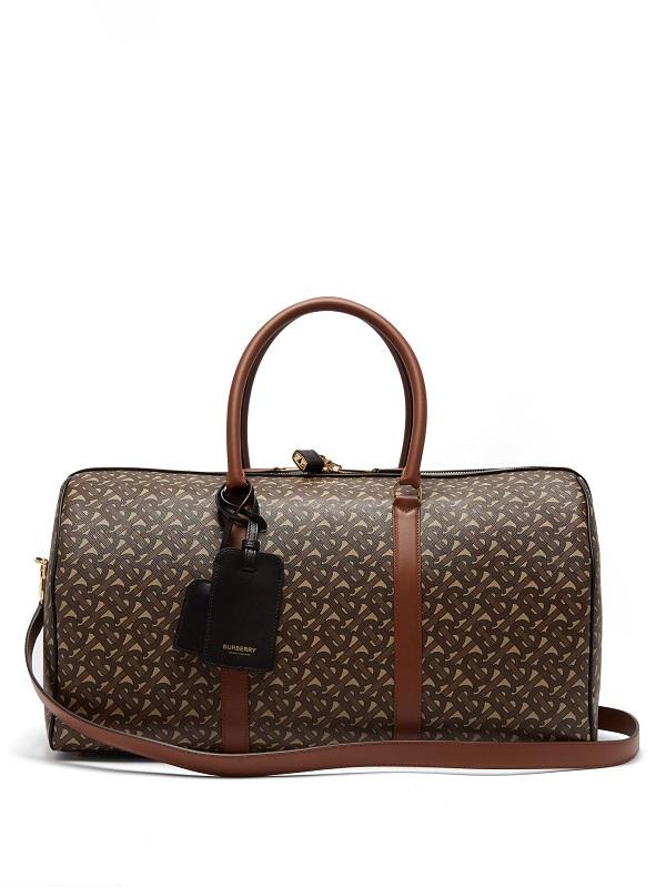 حقيبة سفر بتصميم أسطواني باللون البني من Burberry