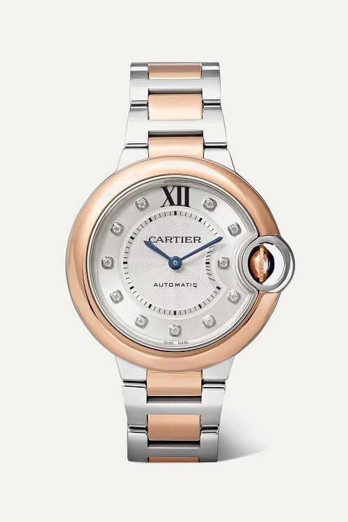 ساعة من الفضة والذهب الوردي بتصميم مميز من Cartier