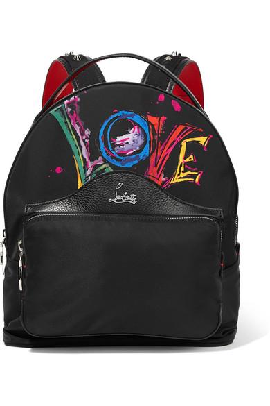 حقيبة من Christian Louboutin باللون الأسود والنقشات الملونة