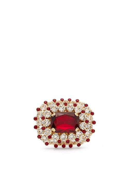 خاتم مرصع بالأحمر مع أحجار الماس من Dolce and Gabbana