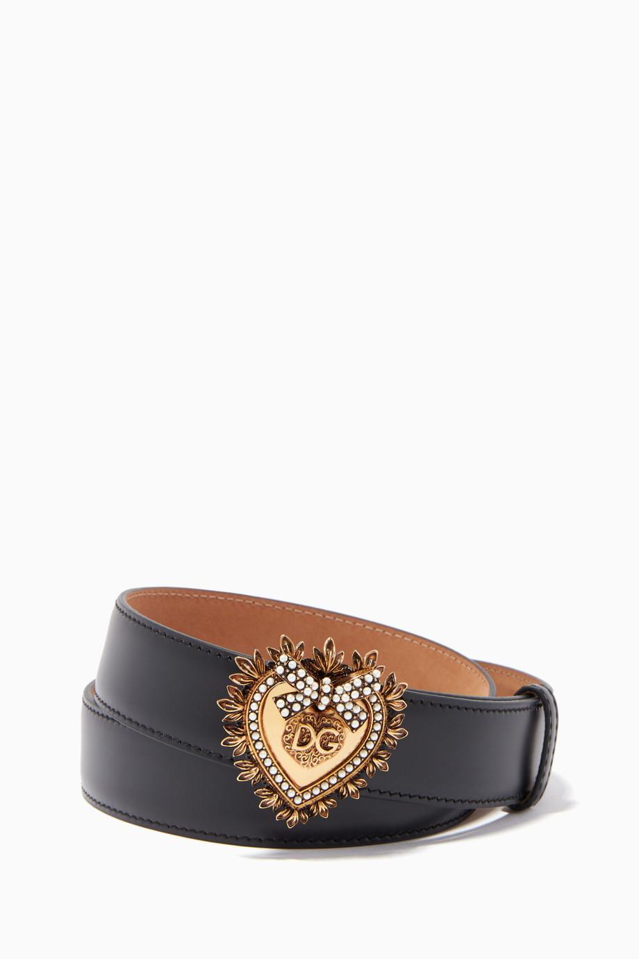 حزام باللون الرمادي المائل إلى الأسود من Dolce and Gabbana