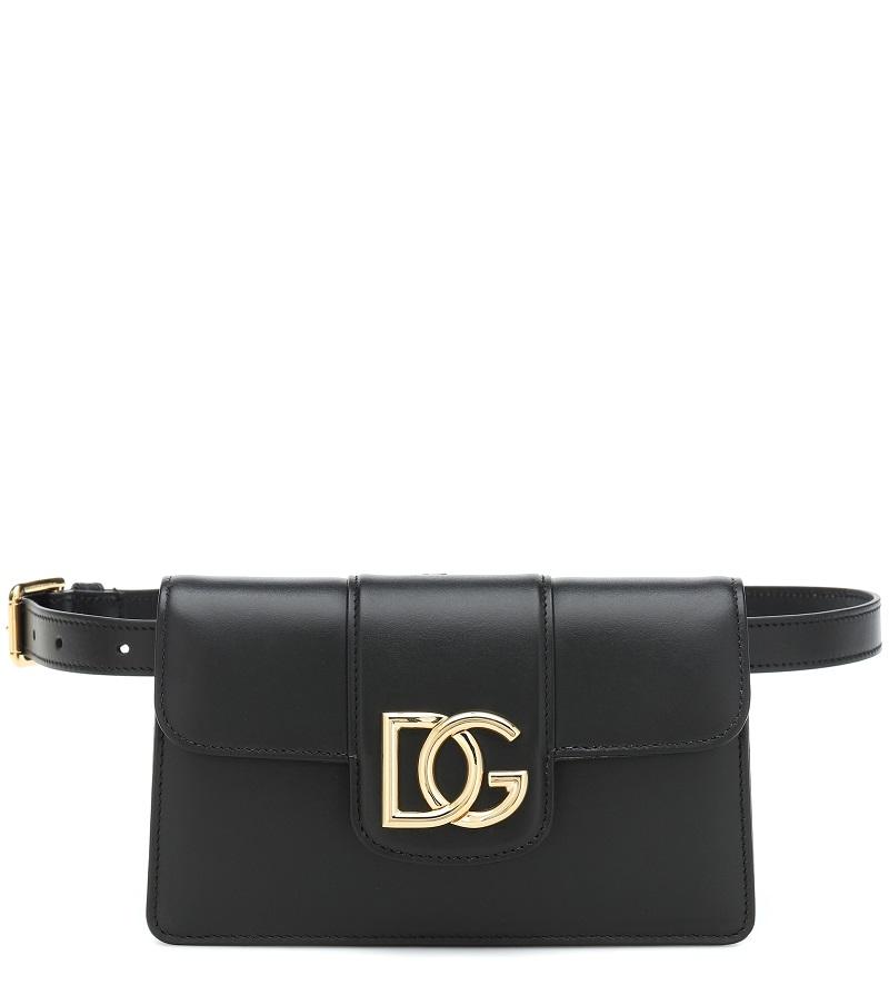 حقيبة خصر من الجلد الأسود الأنيق من Dolce and Gabbana