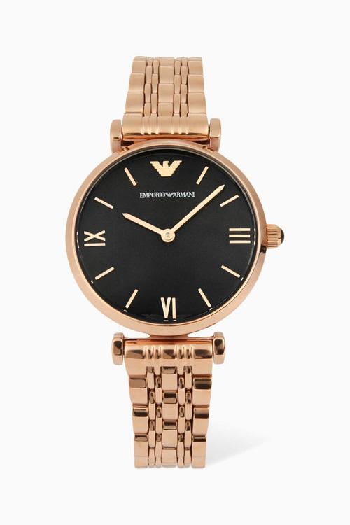 ساعة ذهبية مع مينا أسود من Emporio Armani