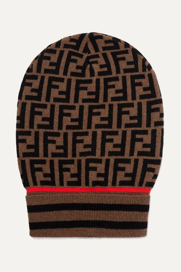 قبعة صوفية باللون البني الجذاب من Fendi