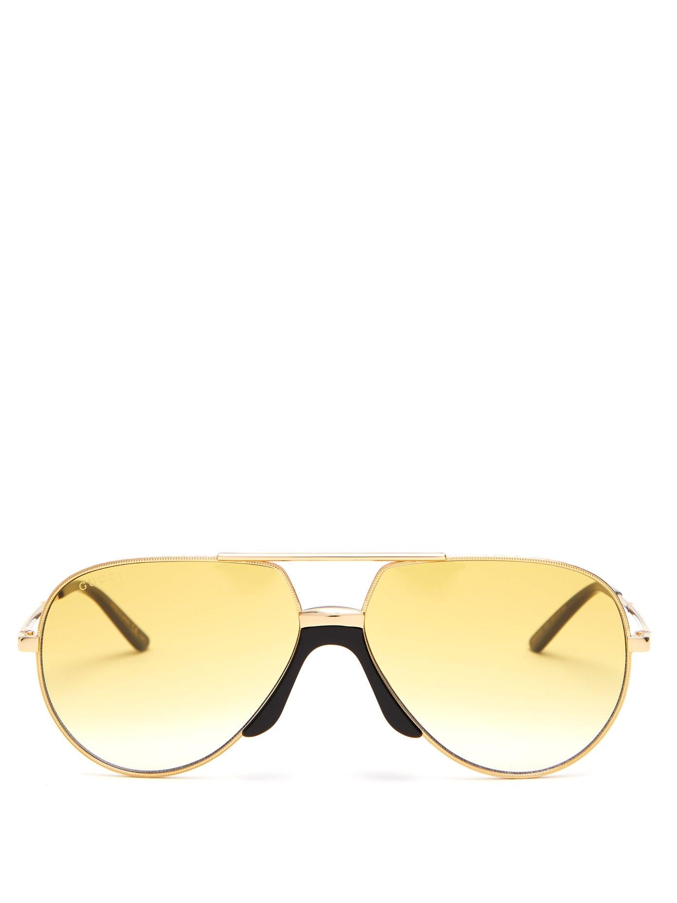 نظارات شمسية باللون الأصفر الأنيق من Gucci