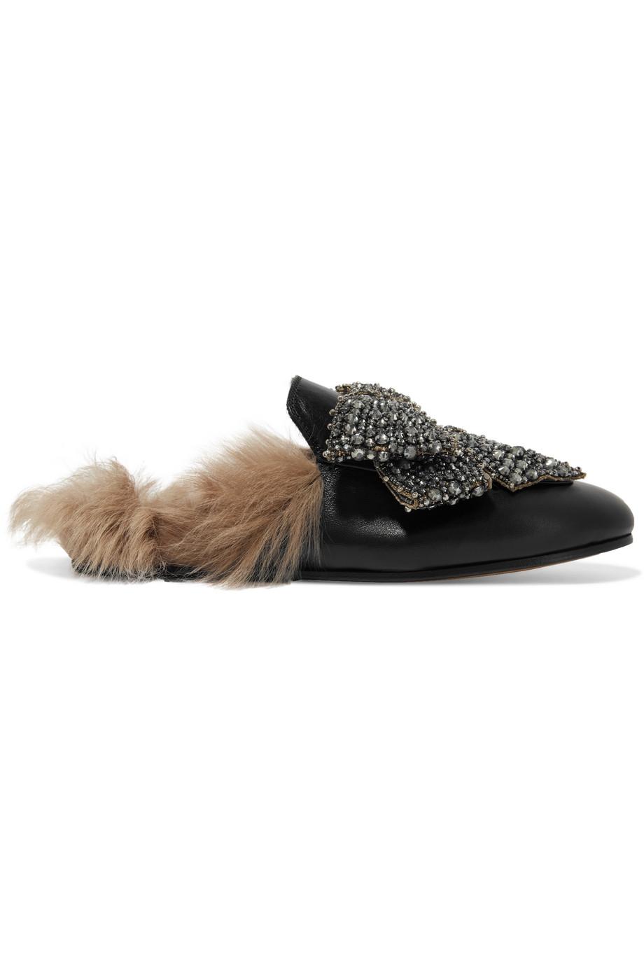 حذاء منبسط تميز بالفرو البني الفاتح من Gucci