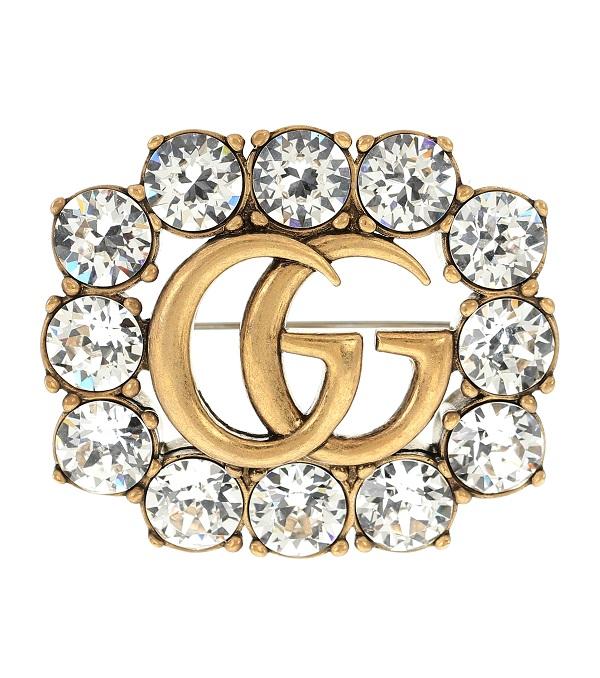 بروش مرصع باحجار الماس الكبيرة من Gucci