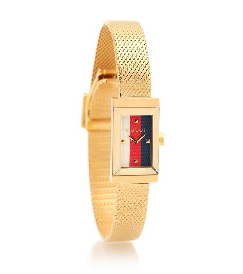 ساعة بتصميم مستطيل من الذهب الأصفر من Gucci