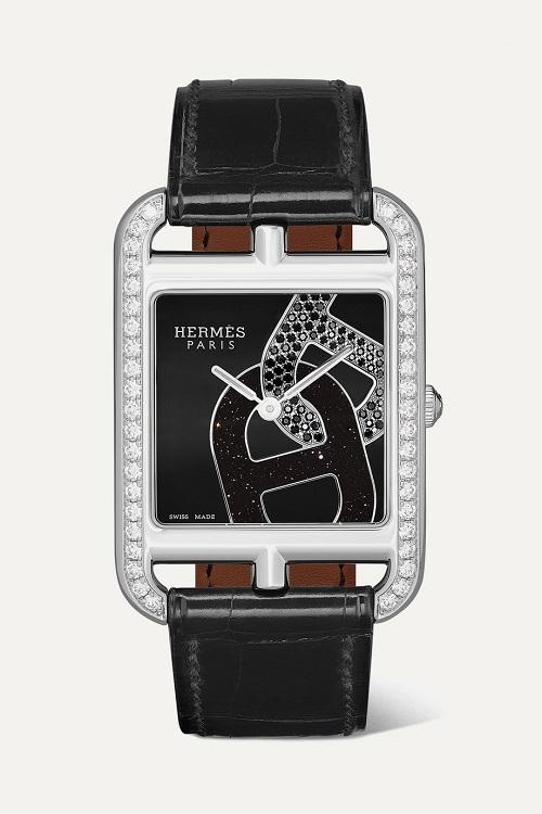 ساعة من الجلد الأسود مرصعة من Hermès