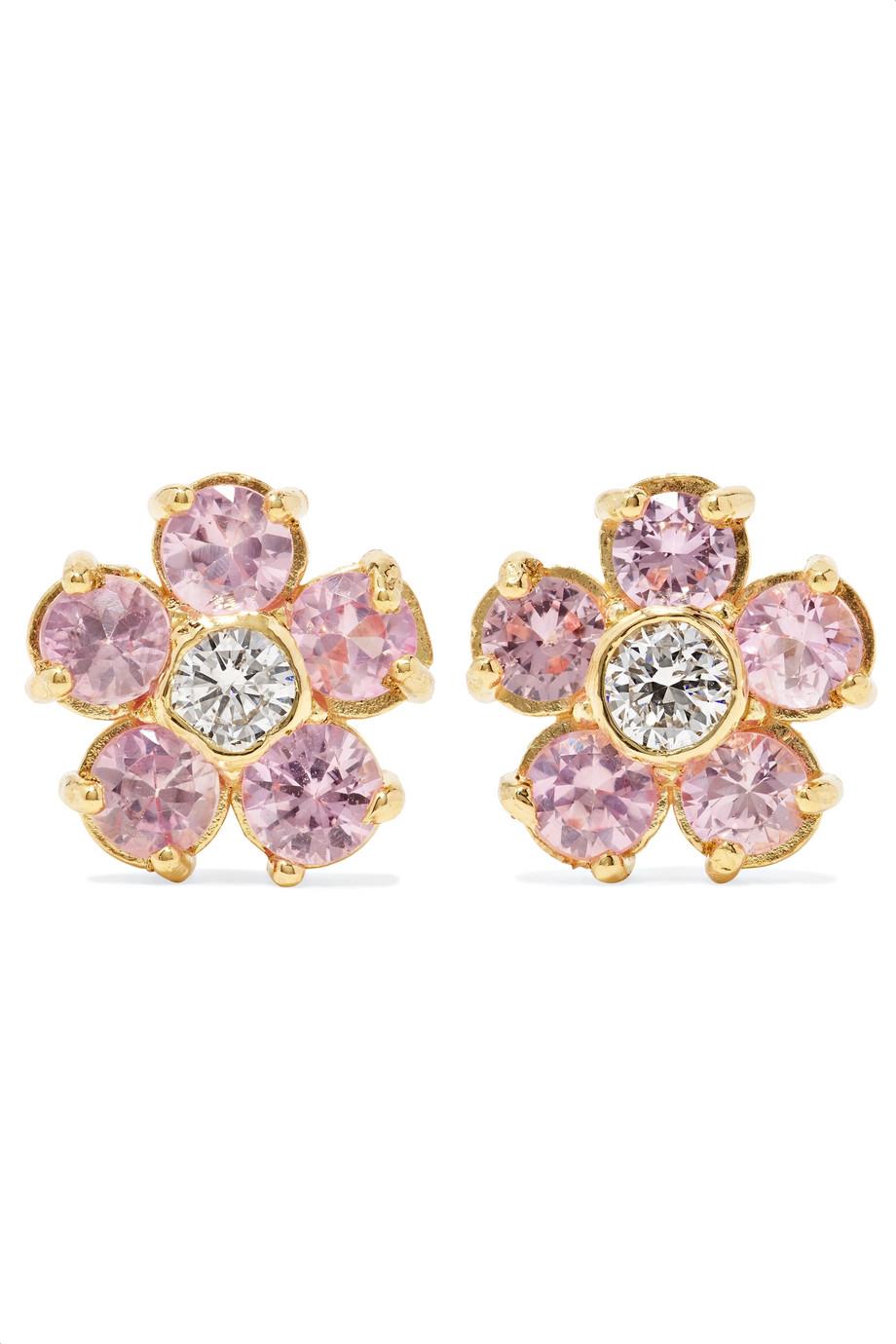 أقراط بتصميم ورود مع حبات الماس من Jennifer Meyer
