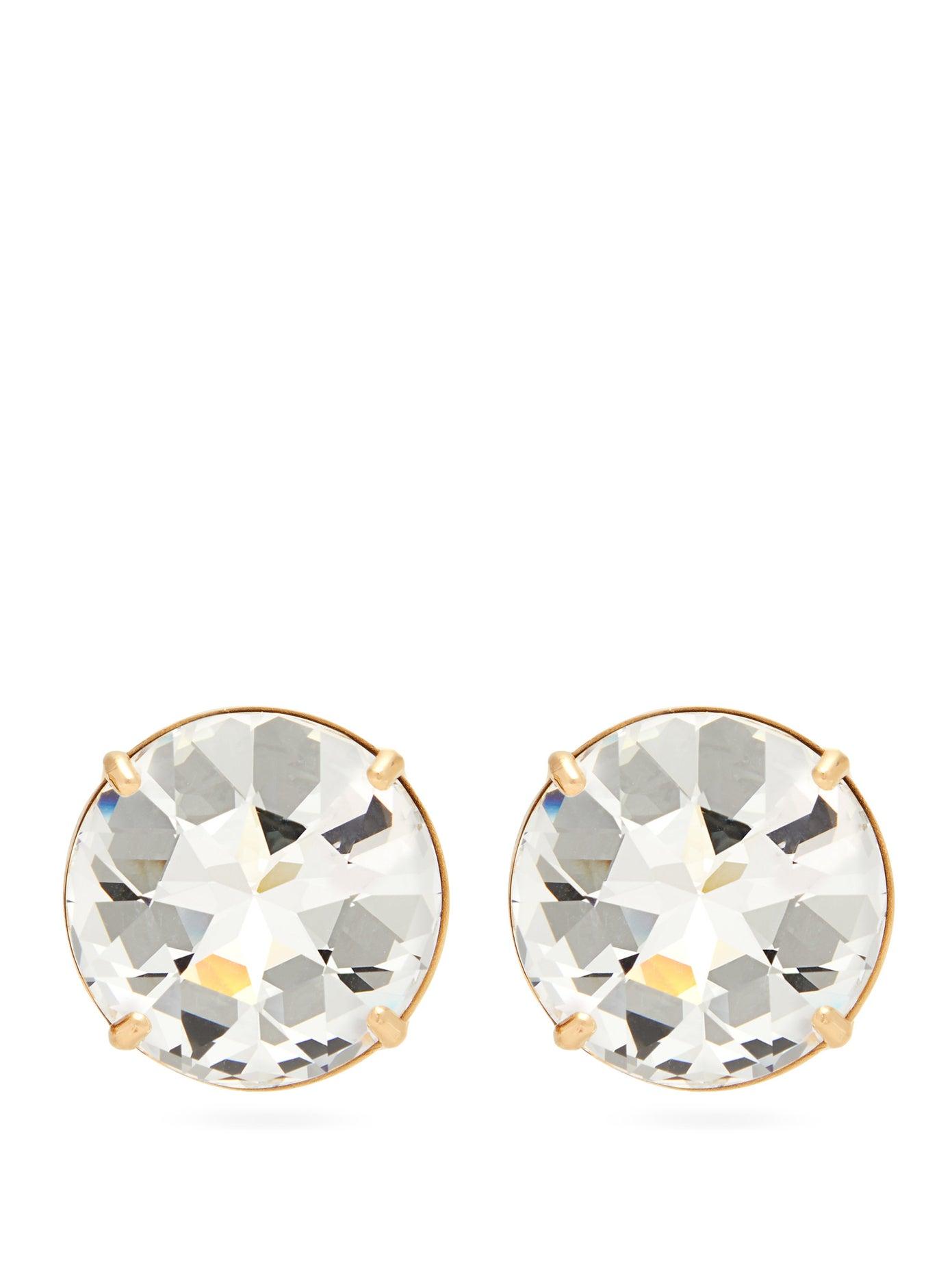 أقراط بتصميم بسيط مع احجار الماس من Miu Miu