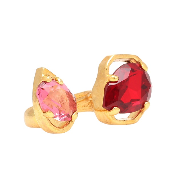 خاتم مزدوج  من الذهب الأصفر مع أحجار كريمة من Oscar de la Renta