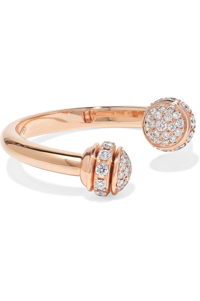 خاتم مزدوج من الذهب الوردي مع أحجار الألماس من Piaget