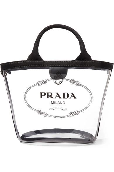 شنطة شفافة بتصميم جذاب تداخل فيها اللون الأسود من PRADA