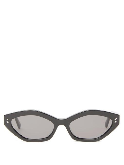نظارات شمسية بإطارات عريضة باللون الأسود من Stella McCartney