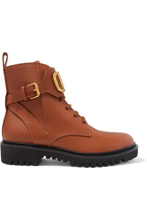 حذاء من الجلد البني الأنيق من Valentino