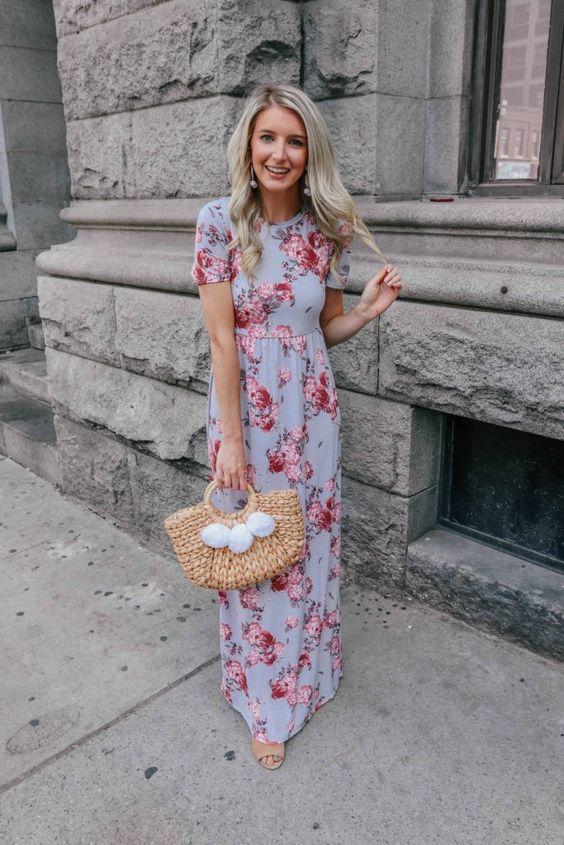 فستان ماكسي مطبع بنقشة الأزهار