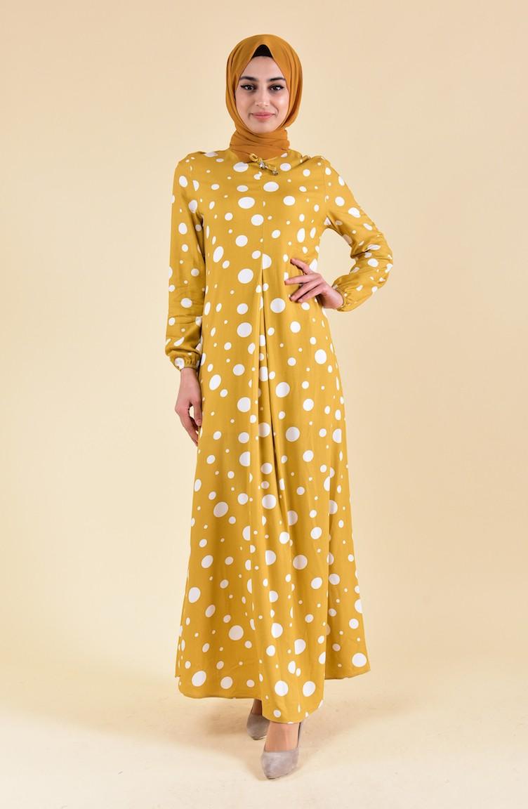 فستان شيفون بتصميم منقط