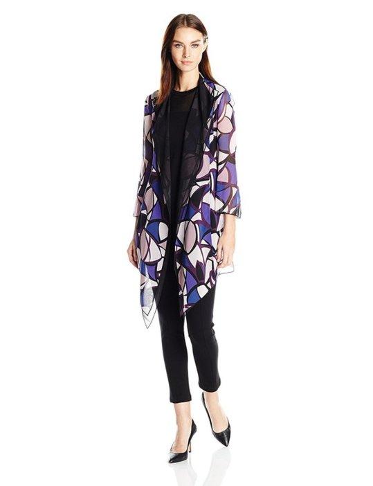 2cc0d7755 كارديغان نسائي من الشيفون، بأكمام طويلة، بتصميم طويل ومفتوح، باللونين  الأبيض والأزرق مع الوردي، من