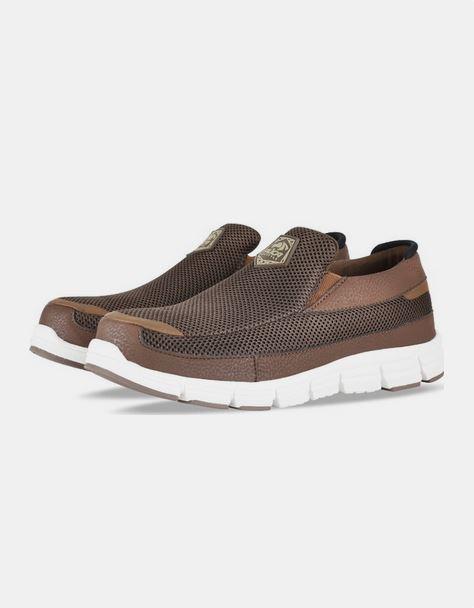 حذاء رياضي سهل اللبس باللون البني للرجال