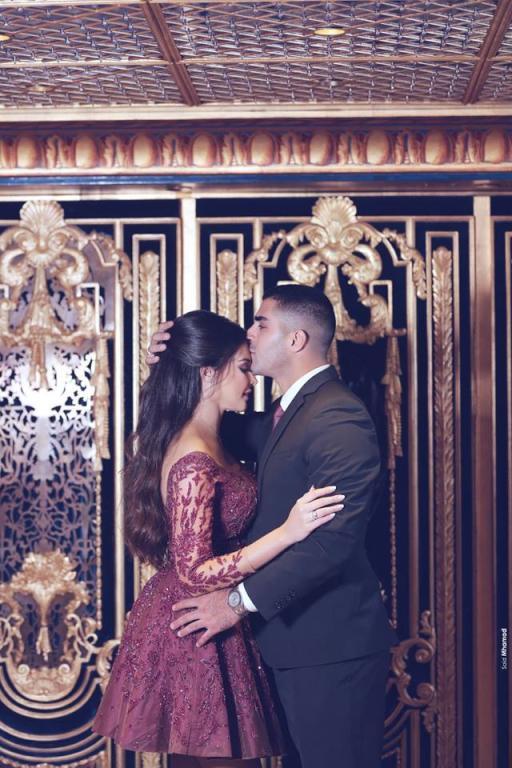 العروس كارن غراوي وزوجها جاد وهبي