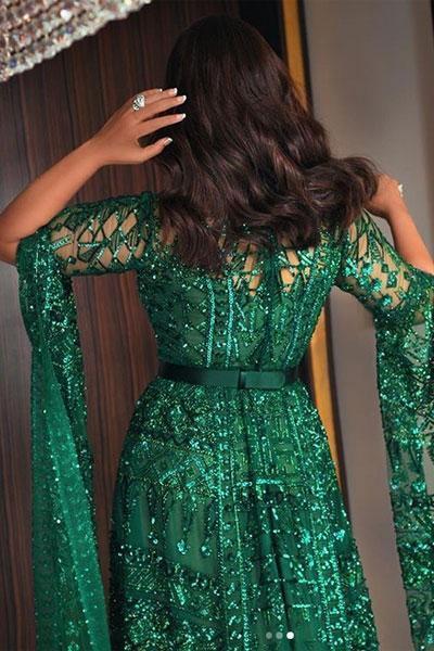 فستان باللون الأخضر ارتدته النجمة احلام