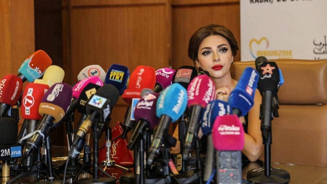 """ميريام فارس خلال مؤتمرها الصحفي في مهرجان """"الموازين"""""""