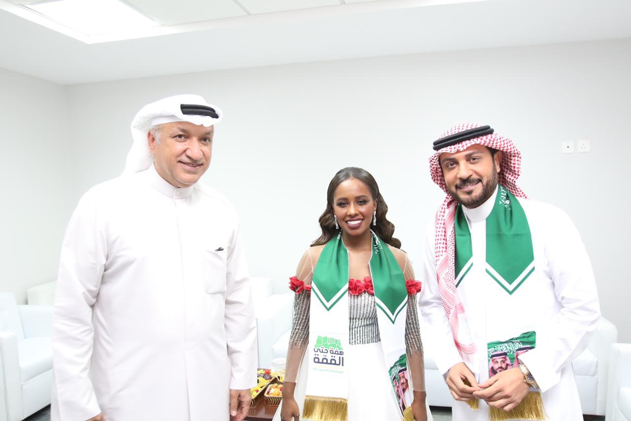 داليا مبارك وماجد المهندس مع سالم الهندي من حفل اليوم الوطني السعودي 89 في حائل