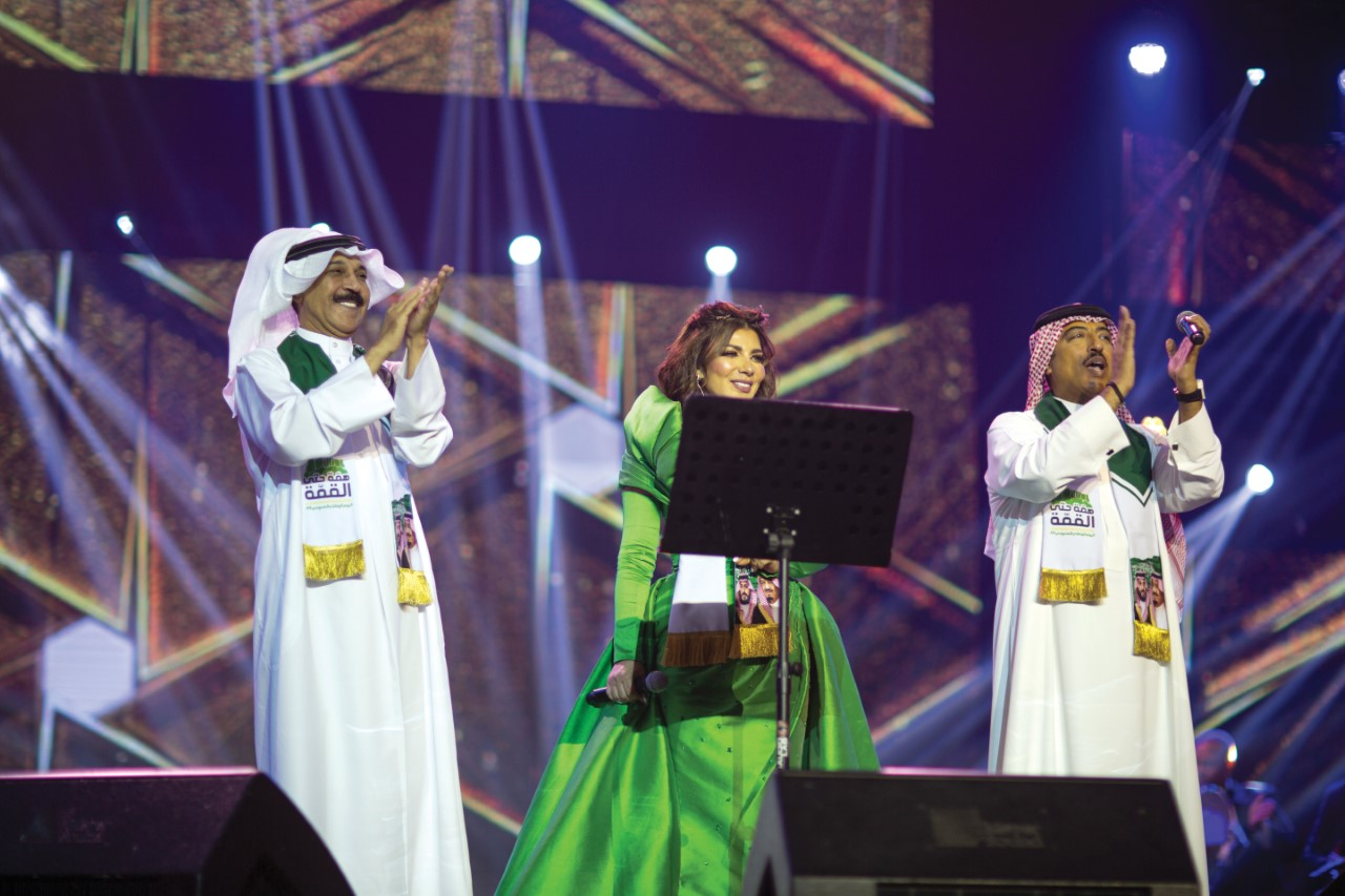 تريو أصيل أبو بكر وأصالة نصري وعبد الله الرويشد في حفلات اليوم الوطني