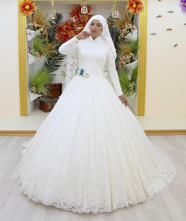 18e7561006221 فساتين زفاف محجبات تركية جديدة