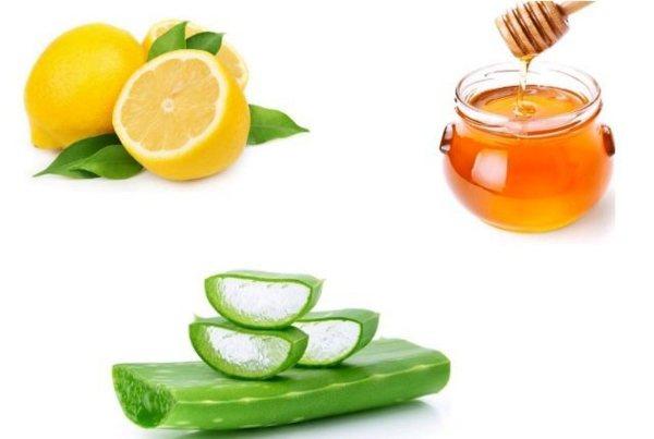 جل الألوفيرا والعسل الطبيعي وعصير الليمون الحامض