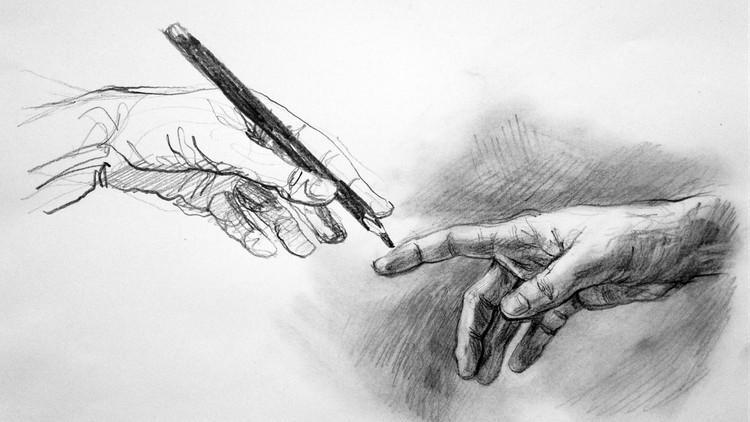 رسم يدين بالرصاص