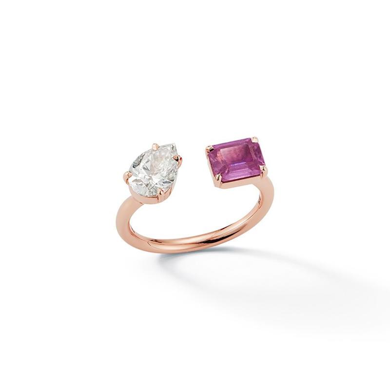 خاتم زفاف بأحجار ملونة
