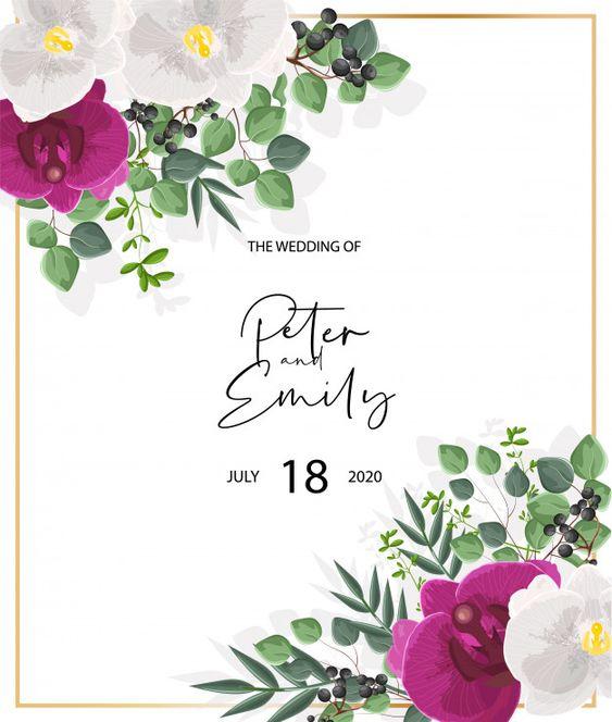 دعوة زفاف مزينة بأزهار الأوركيد