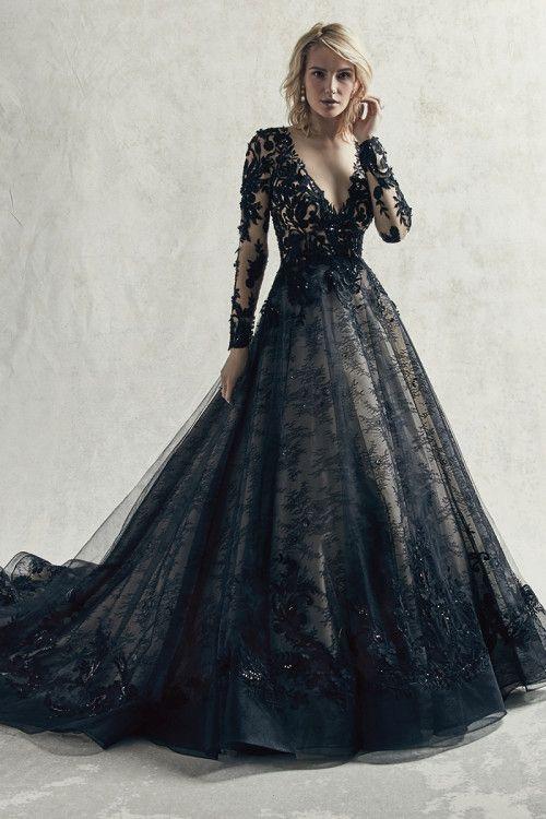 فستان زفاف أسود مع شيفون ودانتيل