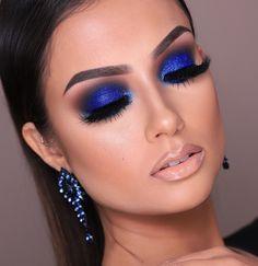 مكياج أزرق براق للعروس العربية