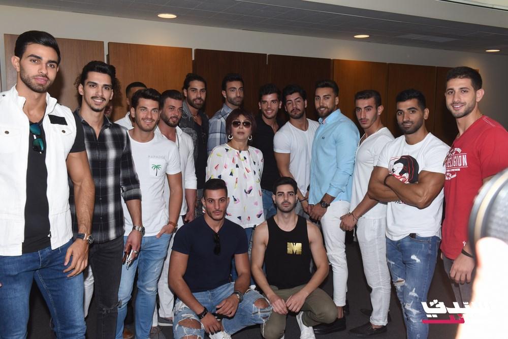 نبيلة عبيد مع المرشحين لمسابقة ملك جمال لبنان لعام 2019