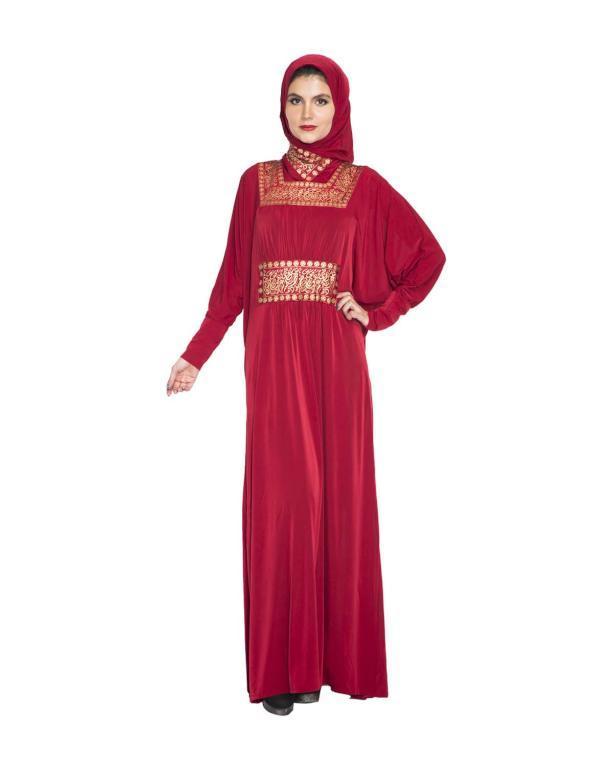جلابية حمراء مع حجاب مطابق