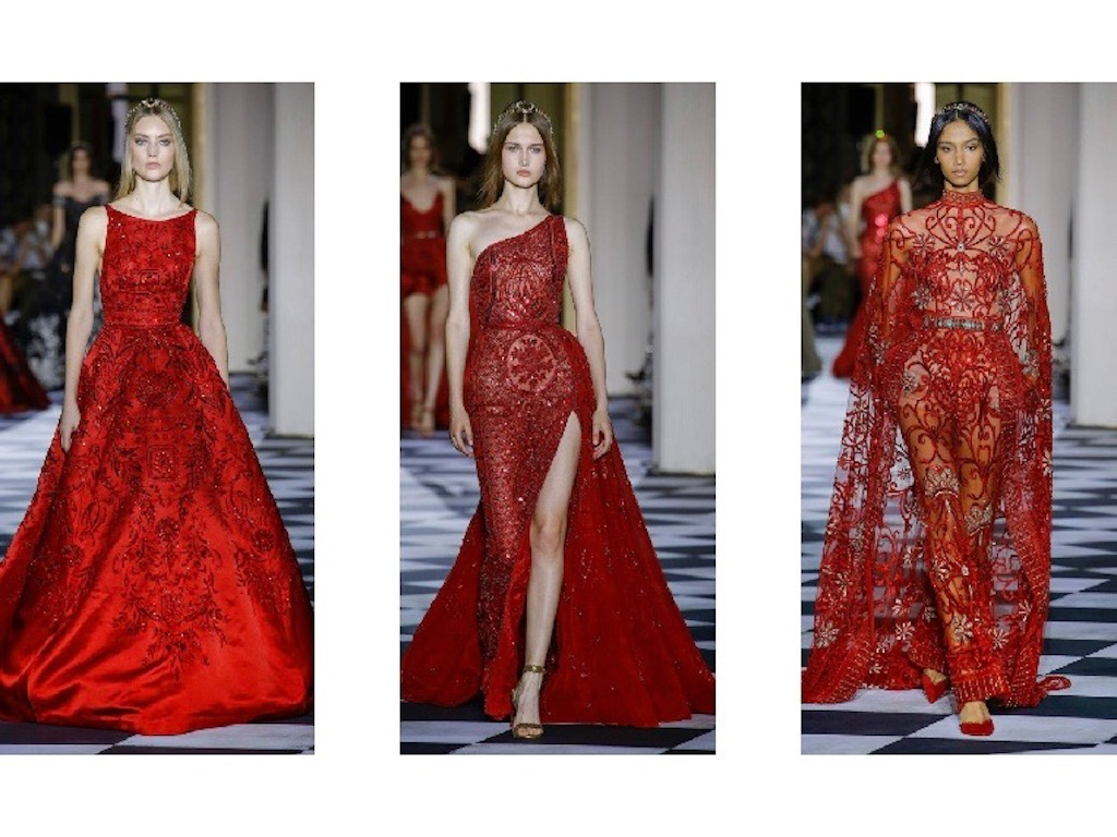 فساتين باللون الأحمر من مجموعة زهير مراد للأزياء الراقية