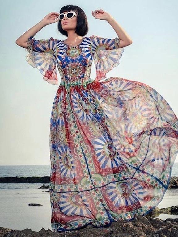 سيرين عبد النور في فستان ماكسي من دولتشي أند غابانا