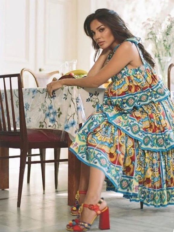 فستان ميدي معرق خيار نادين نجيم
