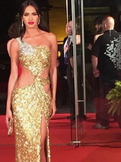 فستان ذهبي اختارته ليلى بن خليفة