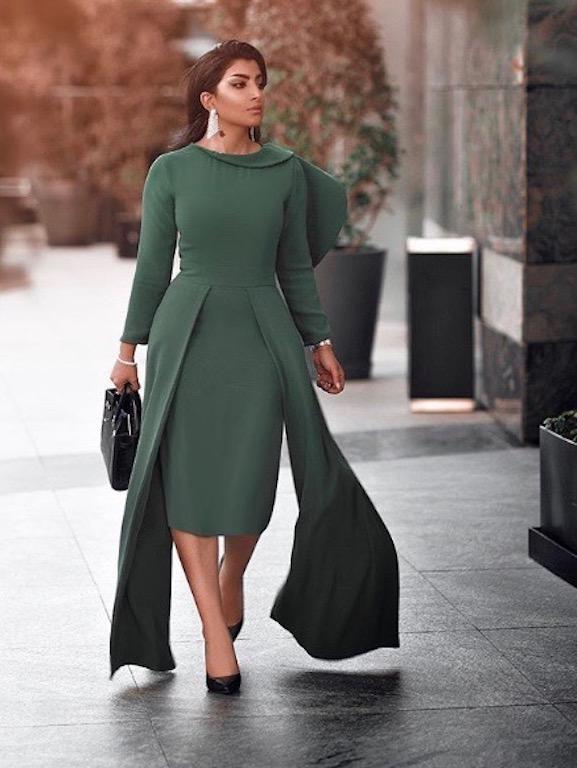 فستان ميدي باللون الزيتي أجمل اطلالات بثينة الرئيسي