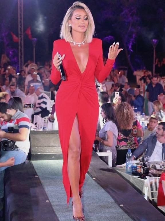 مايا دياب في فستان أحمر من نيكولا جبران