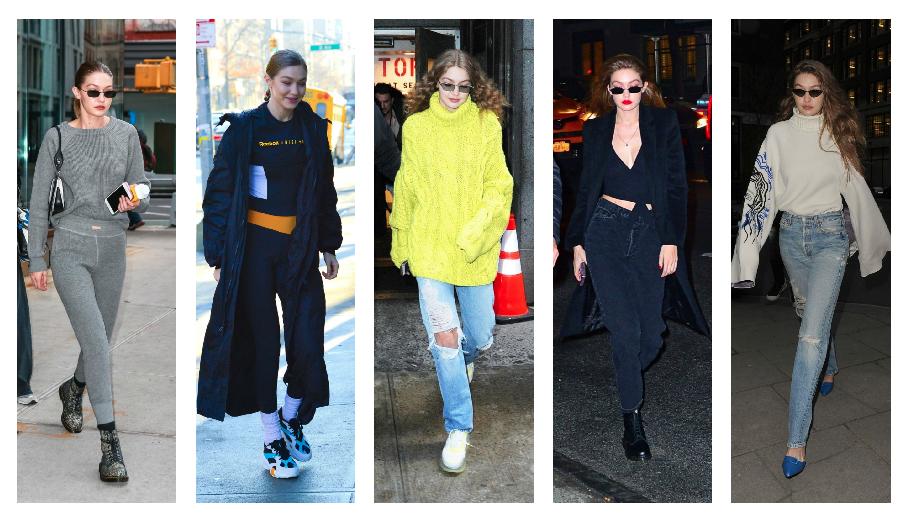 اطلالات جيجي حديد اليومية خلال أسابيع الموضة